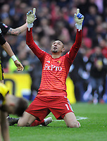 Football - 2018 / 2019 Emirates FA Cup - Semi-Final: Wolverhampton Wanderers vs. Watford<br /> <br /> Watford goalkeeper, Heurelho Gomes drops to his knees  to celebrate at the final whistle, at Wembley Stadium.<br /> <br /> COLORSPORT/ANDREW COWIE