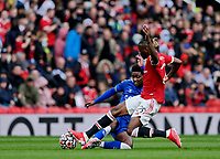 Football - 2021 / 2022 Pre-Season Friendly - Manchester United vs Everton - Old Trafford - Saturday 7th August 2021<br /> <br /> Aaron Wan-Bissaka of Manchester United tackles Demarai Gray of Everton, at Old Trafford.<br /> <br /> COLORSPORT/ALAN MARTIN