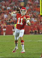 KANSAS CITY, MO - AUGUST 16:  Quarterback Alex Smith #11 of the Kansas City Chiefs drops back to pass against the San Francisco 49ers during the first half on August 16, 2013 at Arrowhead Stadium in Kansas City, Missouri.  (Photo by Peter G. Aiken/Getty Images) *** Local Caption *** Alex Smith