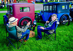 The 44th Biggar Vintage Vehicle Rally held in Biggar on 13th August 2017.  Time for a catch up with at the rally.<br /> <br /> (c) Andrew Wilson   Edinburgh Elite media