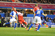 Middlesbrough's Kei Kamara shoots for goal during the Skybet football league championship match, Birmingham city v Middlesbrough at St.Andrew's in Birmingham, England on Sat 7th Dec 2013. pic by Jeff Thomas/Andrew Orchard sports photography.
