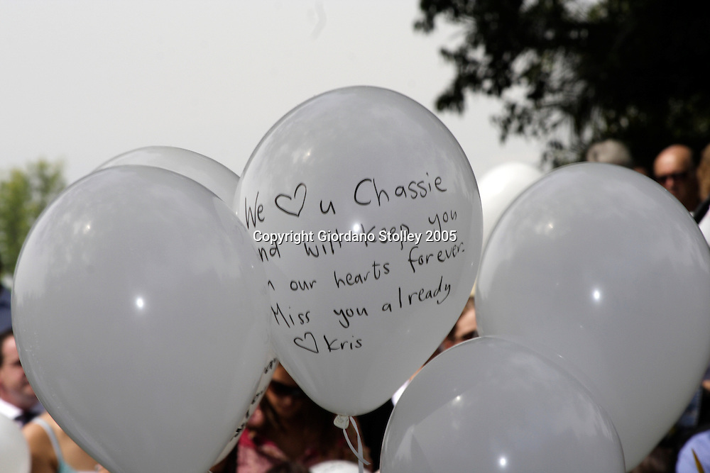PIETERMARITZBURG - 23 September 2005 - Balloons at the funeral of Chas Smit, one half of the popular music duo known as Plush. Smit was killed a few days earlier when struck by a drunk driver after leaving nightclub. The driver, identified as Linda Barron, the former chief executive of the Comrades Marathon Association was later acquitted of all charges despite having been found to be four times over the legal limit. She claimed that three drinks given to her at the accident scene had pushed her over the limit. Picture Giordano Stolley.