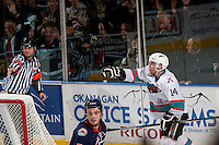 KELOWNA, CANADA - MARCH 26: Rourke Chartier #14 of Kelowna Rockets celebrates a goal against the Kamloops Blazers on March 26, 2016 at Prospera Place in Kelowna, British Columbia, Canada.  (Photo by Marissa Baecker/Shoot the Breeze)  *** Local Caption *** Rourke Chartier;