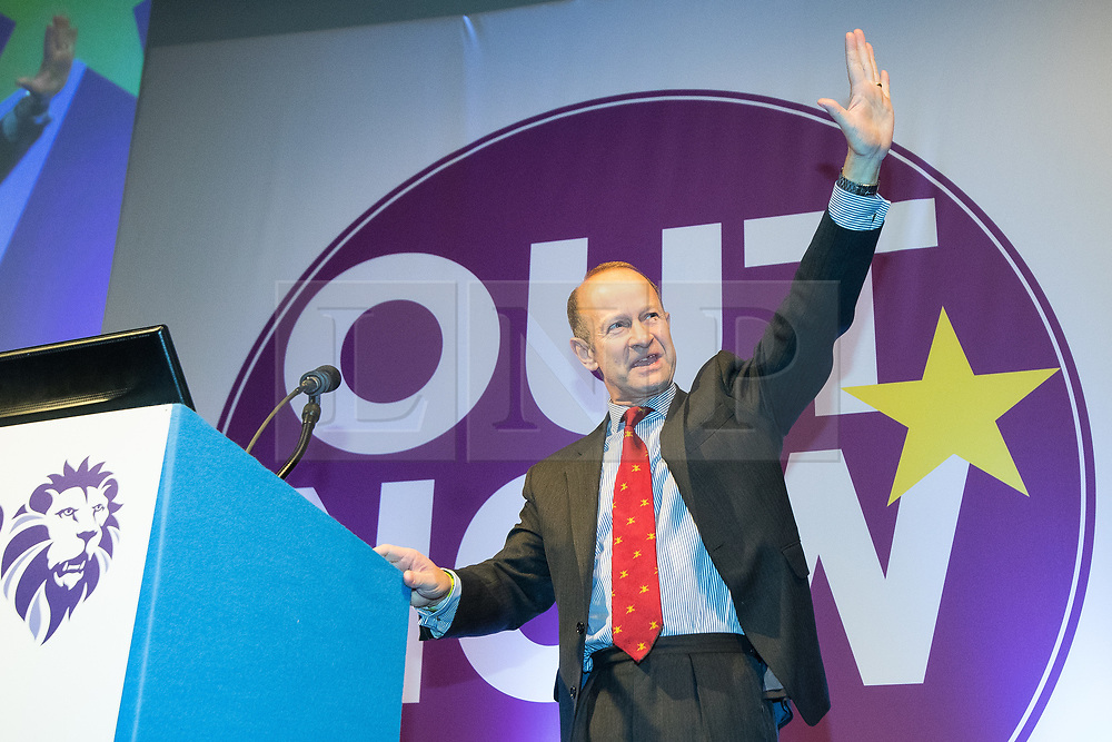 © Licensed to London News Pictures . 29/09/2017 . Torquay , UK . Contest winner HENRY BOLTON delivers his victory speech . The UK Independence Party Conference at the Riviera International Centre . UKIP is due to announce the winner of a leadership election which has the potential to split the party . Photo credit: Joel Goodman/LNP