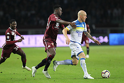 October 5, 2018 - Turin, Piedmont, Italy - Emil Hallfredsson (Frosinone Calcio) and Soualiho Meit (Torino FC) competes for the ball during the Serie A football match between Torino FC and Frosinone Calcio at Olympic Grande Torino Stadium on October 05, 2018 in Turin, Italy..Torino won 3-2 over Frosinone. (Credit Image: © Massimiliano Ferraro/NurPhoto/ZUMA Press)