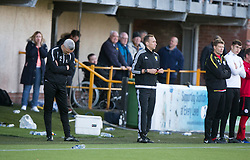 Alloa Athletic's manager Jim Goodwin and Brechin City manager Darren Dods  during the penalties. Athletic 4 v 3 Brechin City (Brechin won 5-4 on penalties), Ladbrokes Championship Play-Off 2nd Leg at Alloa Athletic's home ground, Recreation Park, Alloa.