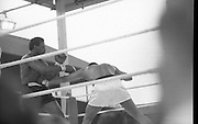Ali vs Lewis Fight, Croke Park,Dublin..1972..19.07.1972..07.19.1972..19th July 1972..As part of his built up for a World Championship attempt against the current champion, 'Smokin' Joe Frazier,Muhammad Ali fought Al 'Blue' Lewis at Croke Park,Dublin,Ireland. Muhammad Ali won the fight with a TKO when the fight was stopped in the eleventh round...A straight left to the stomach forces Lewis back.