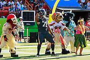 January 31 2016: Team Irvin Michael Bennett dances with mascots during a timeout of the Pro Bowl at Aloha Stadium on Oahu, HI. (Photo by Aric Becker/Icon Sportswire)