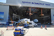 Israel, Ben-Gurion international Airport El-Al maintenance working in a maintenance hanger