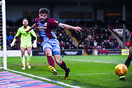 Cameron Burgess of Scunthorpe United (21) clears the ball during the EFL Sky Bet League 1 match between Scunthorpe United and Sunderland at Glanford Park, Scunthorpe, England on 19 January 2019.