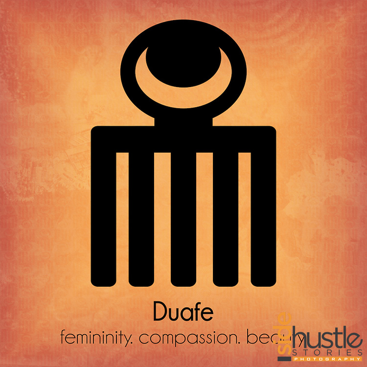 """Duafe: femininity. compassion. beauty.<br /> <br /> This peach colored poster features the Adinkra symbol Duafe, which is a symbol of the positive qualities of womanhood. The literal translation* of the word Duafe in Akan is """"the wooden comb"""", but the symbolic meaning of Duafe can not be limited to a single word. Adinkra symbols are West African designs that have represented elements of Ghanaian values and culture for hundreds of years. <br /> <br /> <br /> *Literal translation from the book: """"The Adinkra Dictionary - A Visual Primer on the Language of Adinkra"""" and my parents. Akan (or Twi) is a language spoken in both Ghana and Côte d'Ivoire."""