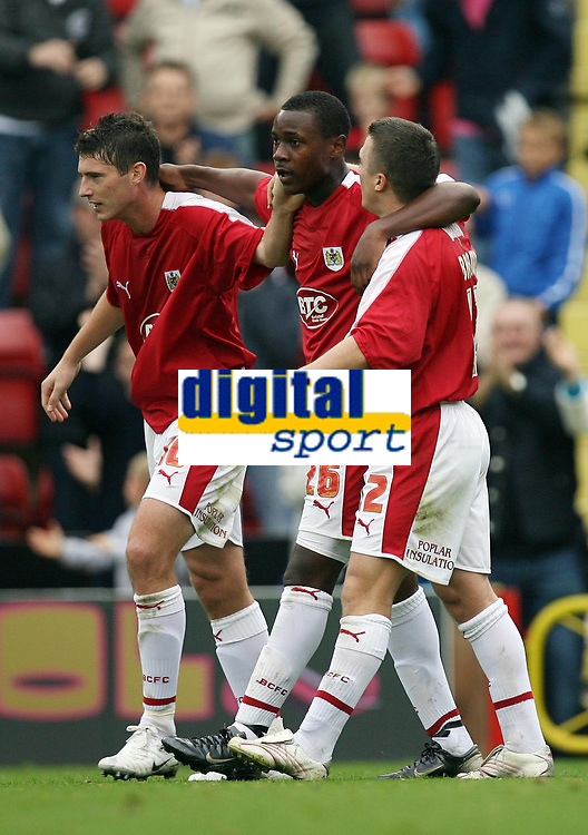 Photo: Rich Eaton.<br /> <br /> Bristol City v Crewe Alexander. Coca Cola League 1. 14/10/2006. Phil Jevons left joins Jennison Myrie-Williams  in the centre who made the goal and Scott Brown who scored the goal for Bristol