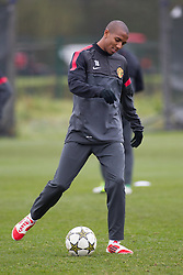 © Licensed to London News Pictures . 06/11/2012 . Manchester , UK . Ashley Young . Manchester United players train this morning (6th November 2012) at the club's training facility in Carrington , ahead of their Champions League match against SC Braga in Portugal tomorrow (7th November 2012) . Photo credit : Joel Goodman/LNP
