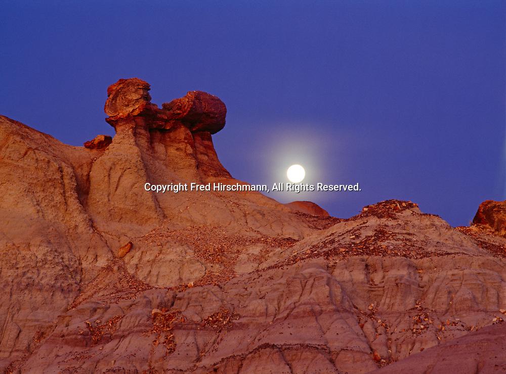 Full moon rising over Pedestal Log and badlands of Blue Mesa, Petrified Forest National Park, Arizona.