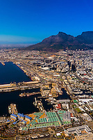 Aerial view, Table Bay Harbour and Central Business District, Cape Town, South Africa.