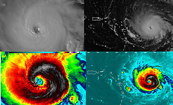 September 6, 2017 - Atlantic Ocean, U.S. - Collage. Hurricane Irma intensified into a strong and 'potentially catastrophic' category 5 storm. By definition, category 5 storms deliver maximum sustained winds of at least 157 miles (252 kilometers) per hour. Irma's winds that morning approached 180 miles per hour, the strongest ever measured for an Atlantic hurricane outside of the Gulf of Mexico or north of the Caribbean. (Credit Image: © NOAA/NASA via ZUMA Wire/ZUMAPRESS.com)