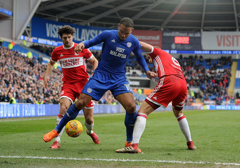 Cardiff City's Kenneth Zohore vies for possession with Middlesbrough's Ben Gibson<br /> <br /> Photographer Ashley Crowden/CameraSport<br /> <br /> The EFL Sky Bet Championship - Cardiff City v Middlesbrough - Saturday 17th February 2018 - Cardiff City Stadium - Cardiff<br /> <br /> World Copyright © 2018 CameraSport. All rights reserved. 43 Linden Ave. Countesthorpe. Leicester. England. LE8 5PG - Tel: +44 (0) 116 277 4147 - admin@camerasport.com - www.camerasport.com
