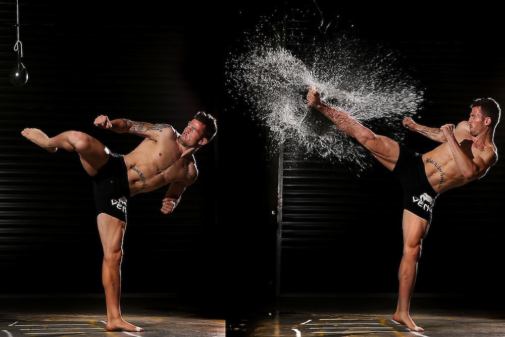 Kickboxer Les Clarke Jnr shows the power and skill needed to split a balloon in half with one power head kick. Clarke was training to compete in the A1 World Grand Prix 8 Man Eliminator at the Melbourne Pavilion in 2013. (Copyright Michael Dodge/Getty Images)