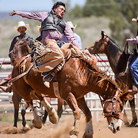 Kane Kee holds on as his saddle bronc spins during the Jacobs NNRA Rodeo at the Grants Rodeo Arena Saturday.