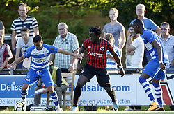 (L-R), Mustafa Saymak of PEC Zwolle, Elvis Manu of Genclerbirligi SK, Kingsley Ehizibue of PEC Zwolle during the pre-season Friendly match between PEC Zwolle and Genclerbirligi SK  at Sportpark 't Achterveen on July 21, 2017 in Hattum, The Netherlands