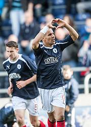 Falkirk's Farid El Alagui celebrates after scoring their second goal..Falkirk's Football Club's last game of season 2011-2012..Falkirk 3 v 2 Ayr United, 5/5/2012..©Michael Schofield..
