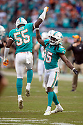 Miami Dolphins rookie outside linebacker Jerome Baker (55) jumps in the air and celebrates with a high five from Miami Dolphins defensive back Walt Aikens (35) after Baker intercepts a fourth quarter pass and returns it 25 yards for a touchdown and a 13-3 Dolphins lead during the NFL week 9 regular season football game against the New York Jets on Sunday, Nov. 4, 2018 in Miami Gardens, Fla. The Dolphins won the game 13-6. (©Paul Anthony Spinelli)