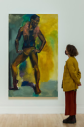 """© Licensed to London News Pictures. 02/12/2020. LONDON, UK. A staff member views """"Daydreaming Of Devils"""", 2016. Preview of """"Lynette Yiadom-Boakye: Fly In League With The Night"""" the first major UK survey exhibition by British artist Lynette Yiadom-Boakye.  Over 70 of her works spanning two decades are on display at Tate Britain.  It is the first new exhibition at Tate since the galleries were re-opened after coronavirus lockdown restrictions were slightly eased by the UK government.  Photo credit: Stephen Chung/LNP"""