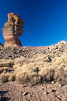 """The """"Roque Cinchado"""" in """"Los Roques de Garcia"""" a geologic formation in the south face of the Teide Volcano, in the Teide National Park, Tenerife Island, Canary Islands, Spain."""