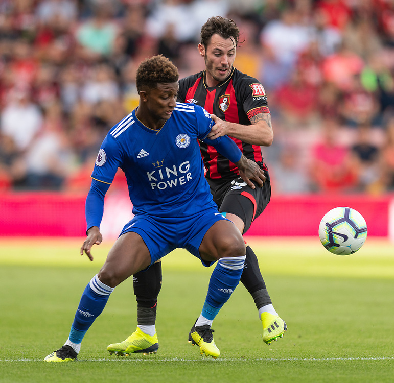 Leicester City's Demarai Gray (left) battles with Bournemouth's Adam Smith (right) <br /> <br /> Photographer David Horton/CameraSport<br /> <br /> The Premier League - Bournemouth v Leicester City - Saturday 15th September 2018 - Vitality Stadium - Bournemouth<br /> <br /> World Copyright © 2018 CameraSport. All rights reserved. 43 Linden Ave. Countesthorpe. Leicester. England. LE8 5PG - Tel: +44 (0) 116 277 4147 - admin@camerasport.com - www.camerasport.com