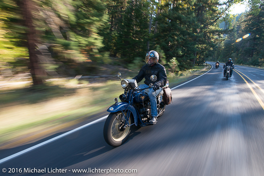 Paul Bessade riding his 1929 Henderson KJ during Stage 16 (142 miles) of the Motorcycle Cannonball Cross-Country Endurance Run, which on this day ran from Yakima to Tacoma, WA, USA. Sunday, September 21, 2014.  Photography ©2014 Michael Lichter.