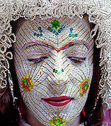 Burim Myftiu American Visual Artist, Contemporary Photographer and Art Curator<br /> Foto/Burim Myftiu<br /> The Bride from Llokvica, Kosova<br /> Torbeshi Minority Community<br /> Illyrian / Pagan traditional face painting in wedding ceremony