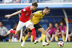 John Stones of England, Eden Hazard of Belgium during the 2018 FIFA World Cup Play-off for third place match between Belgium and England at the Saint Petersburg Stadium on June 26, 2018 in Saint Petersburg, Russia