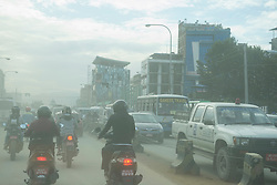 Vehicles emitting smoke on the road, Kathmandu, Nepal