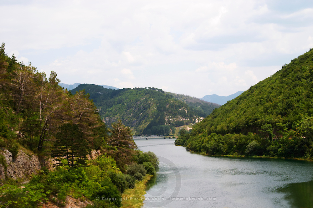 View of the river Trebisnjica in a steep valley near Trebinje. Trebinje. Republika Srpska. Bosnia Herzegovina, Europe.