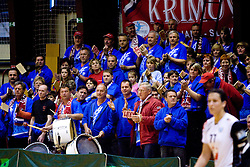 Fans of RK Krim at last 10th Round handball match of Slovenian Women National Championships between RK Krim Mercator and RK Olimpija, on May 15, 2010, in Galjevica, Ljubljana, Slovenia. Olimpija defeated Krim 39-36, but Krim became Slovenian National Champion. (Photo by Vid Ponikvar / Sportida)