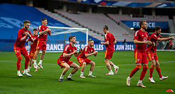 NICE, FRANCE - Wednesday, June 2, 2021: Wales' Chris Mepham and Joseff Morrell during the pre-match warm-up before an international friendly match between France and Wales at the Stade Allianz Riviera ahead of the UEFA Euro 2020 tournament. (Pic by Simone Arveda/Propaganda)