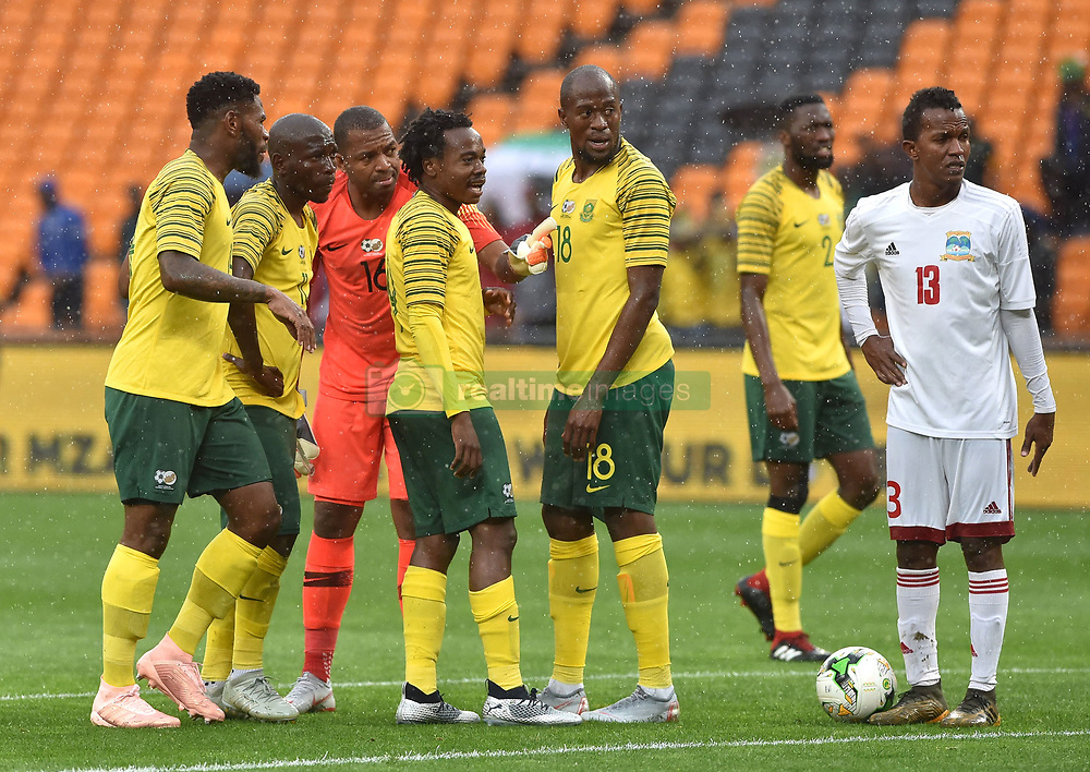 South Africa: Johannesburg: Bafana Bafana players strategies to take a free kick during the Africa Cup Of Nations qualifiers against Seychelles at FNB stadium, Gauteng.<br /> Picture: Itumeleng English/African News Agency (ANA)