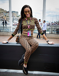Winnie Harlow strolls along the pit lane at the 77th Monaco Grand Prix, Monaco on May 26th, 2019. Photo by Marco Piovanotto/Abacapress.com
