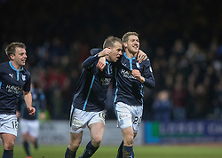 Dundee's James McAlister (20) celebrates after scoring their goal.<br /> Dundee 1 v 1 Ross County, SPFL Premiership game player 4/1/2015 at Dundee's home ground Dens Park.