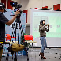 Natasha Johnson welcomes attendees to the afternoon session of the Change Labs conference at Navajo Technical University in Crownpoint Friday.