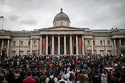 © Licensed to London News Pictures. 12/06/2020. London, UK. Black Lives Matter protesters gather in Trafalgar Square at the end of a demonstration. Protests have taken place across the United States and in cities around the world in response to the killing of George Floyd by police officers in Minneapolis on 25 May. Photo credit: Rob Pinney/LNP
