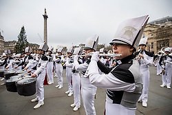 © Licensed to London News Pictures. 30/12/2018. London, UK. The Pride of Bixby Marching Band from Oklahoma, USA, perform at a preview ahead of the London New Year's Day Parade in Trafalgar Square. More than 8,000 performers from 26 countries will take part in the parade on 1st January 2019. Photo credit: Rob Pinney/LNP