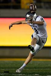 Nevada kicker Matthew Killam kicks off against California during the third quarter of an NCAA college football game, Saturday, Sept. 4, 2021, in Berkeley, Calif. (AP Photo/D. Ross Cameron)