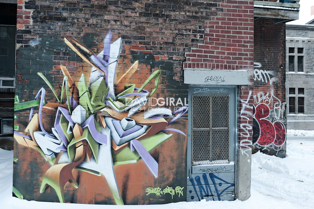 Picture of graffitis and mural in downtown montreal in winter