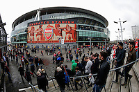 Fans arrive at The Emirates Stadium, home of Arsenal<br /> <br /> Photographer Craig Mercer/CameraSport<br /> <br /> Football - Barclays Premiership - Arsenal v Liverpool - Saturday 4th April 2015 - The Emirates Stadium - London<br /> <br /> © CameraSport - 43 Linden Ave. Countesthorpe. Leicester. England. LE8 5PG - Tel: +44 (0) 116 277 4147 - admin@camerasport.com - www.camerasport.com