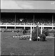 "05/08/1960<br /> 05/08/1960<br /> 05 August 1960<br /> R.D.S Horse Show Dublin (Friday). Aga Khan Trophy. L. Mullertz of Denmark after a fall from ""Tosca""."