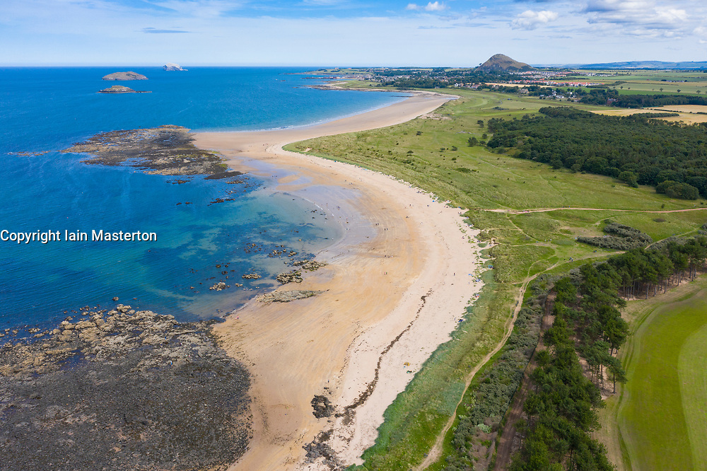 Aerial view of beach at Yellowcraig near North Berwick in East Lothian, Scotland, UK