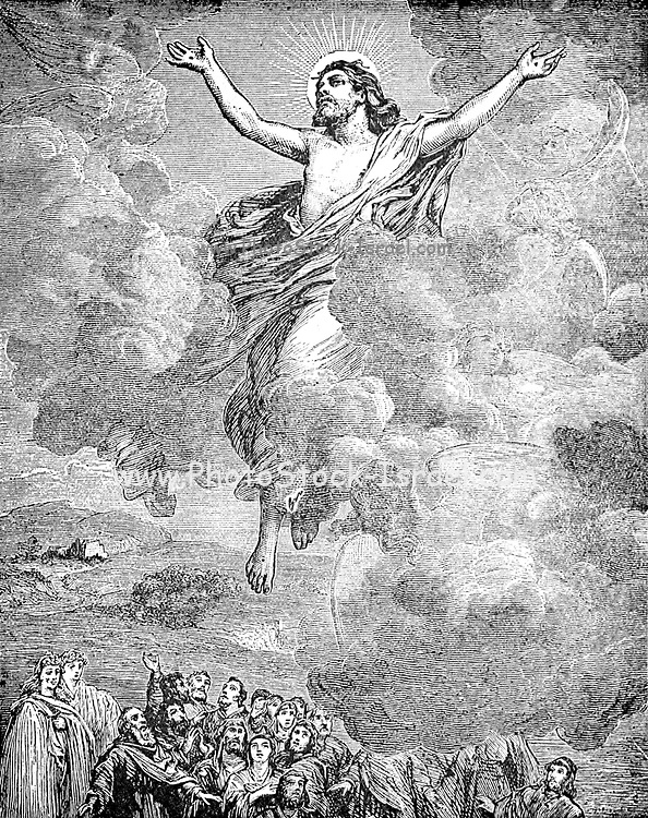 The Ascension to Heaven From the book ' Young folks' Bible in words of easy reading : the sweet stories of God's word in the language of childhood and in the beautiful delineations of Christian art, the whole designed to impres the mind and heart of the youngest readers, and kindle a genuine love for the book of books ' by Pollard, Josephine, 1834-1892 Published in Chicago in 1889
