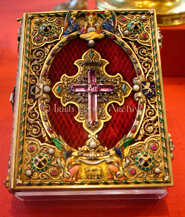 Book of Hours, Silver-gilt, gold, velvet, enamel, rubies, sapphires, emeralds, diamonds and pearls.  Paris, 1828-1842.  The book of hours is a fully illuminated manuscript on vellum, imitating late medieval examples.  It was made in Paris for Louis Jules Gallois, Comte de Naives.