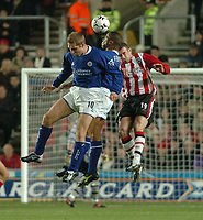 Picture: Henry Browne.<br /> Date: 07/01/2004.<br /> Southampton v Leicester City FA Barclaycard Premiership.<br /> <br /> James Scowcroft, Les Ferdinand and Danny Higginbotham all battle for the ball.